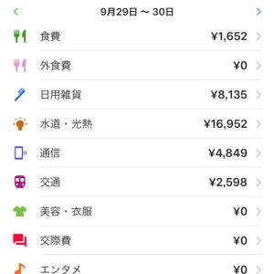 【週間家計簿】9月22日~9月28日