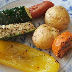 朝市のとれたて野菜を食べる!野菜4種のオーブン焼き♫