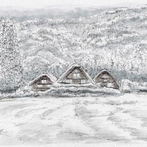 白川郷の雪景色