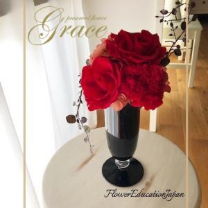 真っ赤なローズが豪華です♪熊本プリザーブドフラワー教室・アーティフィシャルフラワー教室Grace
