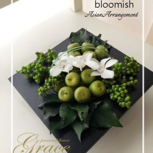 【bloomish】アジアン・アレンジ♪熊本プリザーブド&アーティフィシャルフラワー教室グラース