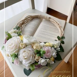 【募集】春色オーバルリース♪熊本プリザーブド&アーティフィシャルフラワー教室Grace