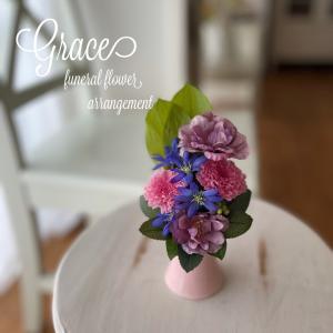ピンクの花器で仏花のご依頼♪熊本プリザーブド&アーティフィシャルフラワー教室・販売Grace