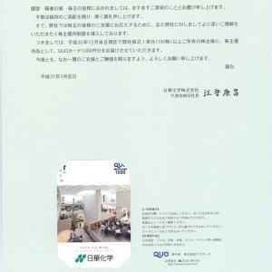 日華化学(4463)から株主優待が届きました(12月末日銘柄)