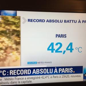 溶ける、、、暑さ、パリ42度オーバーを記録