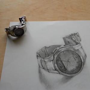 鉛筆で腕時計を描いてみました。