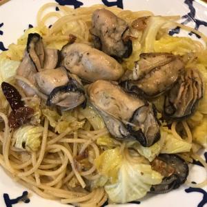 広島産牡蠣で豪快ペペロンチーノ