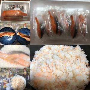 焼き鮭と鮭炊き込みご飯