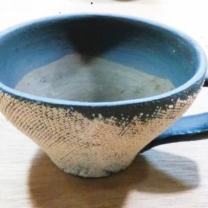 布目模様のコーヒーカップを作成中
