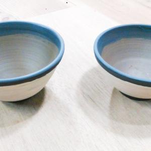 粉引の茶碗を作成中