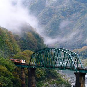 吉野川橋梁を行くアンパンマン列車 (土讃線/徳島県 三好市 山城町)