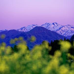 夕暮れに空に染まる白山 (石川県 白山市)