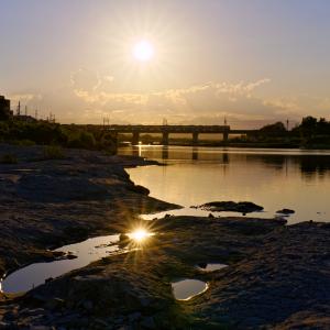 光る水たまり (多摩川橋梁/東京都 日野市)