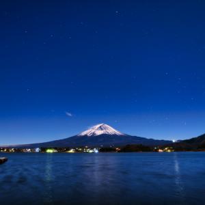 月明かりの河口湖畔 (山梨県 富士河口湖町)