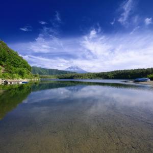 巻雲かかる富士山の見える風景 (西湖/山梨県 富士河口湖町)