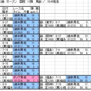 2020 新潟2歳S 出馬表と分類表