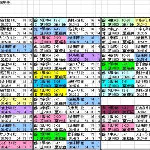 2020 ローズS 出馬表と分類表