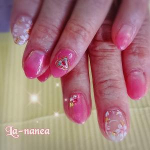 桜ネイル×オーロラパウダー
