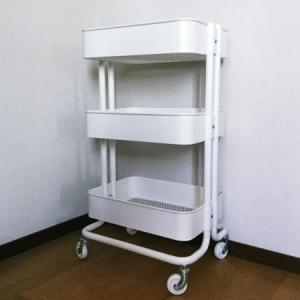 ベビーワゴン(IKEA)を用意!収納は100均で|お世話セット