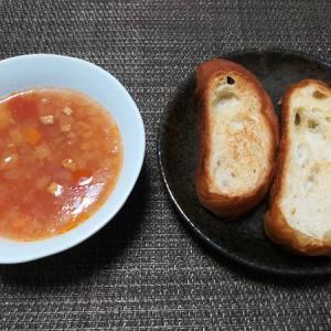 賞味期限ギリギリのパンとミネストロンスープ