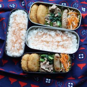 水気の出ない小松菜炒め弁当&昨日はしょっぱかった夕食(笑)