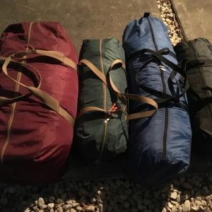 キャンプ道具整理 テントの収納サイズ比較