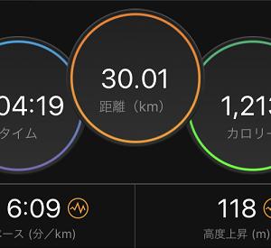 ちょっち気合い入れて30kmジョグ(((((((((((っ・ω・)っ