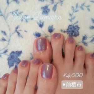 儚げな透明感♡紫陽花色のフットネイル