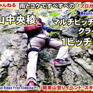「プロガイド登山動画」「え!?すごいレベルに?!びしょびしょつるつるのクライミング!秩父のジャンダルム・アルパインクライミング入門で人気のある二子山中央稜 をマルチピッチした時のP1を当登山教室にて登った時の様子です。フリークライミング」関東山登りイベント・スキー教室 山の会(登山教室) プロガイド同行登山山行
