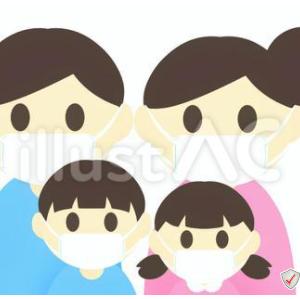 イラスト素材「 マスクをつけた4人家族(夫婦と兄妹) 」×2イラスト
