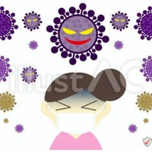 イラスト素材「 おだんご頭の女性とコロナウィルス 」×3イラスト