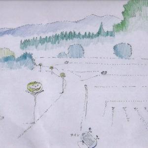 子供たちの遊び場計画の絵を描く。 ・里山に暮らす、私達のボランティア活動・