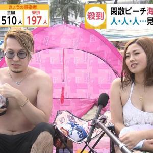 【画像】夏休みの女さん、テレビのインタビューでうっかり乳輪を晒してしまうwww