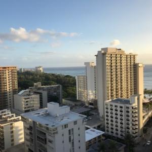ハワイ、楽天トラベル経由のマリオット オーシャンビュー確約の眺望はこんな感じ