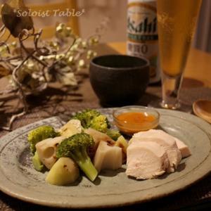 ヘルシー晩ごはん?茹で鶏と蒸し野菜