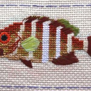 アオハタ・アカハタ幼魚の刺繍:とーとバッグ作品Ⅰ