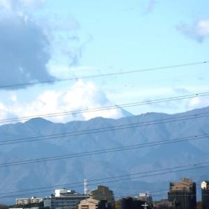山頂付近は雲が多い