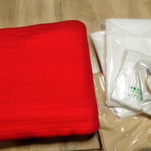 Rちゃん 手芸ナカムラで赤のキルトニット