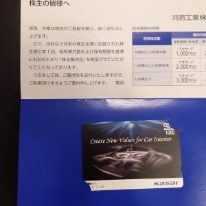 【河西工業の優待、1,000円分が到着(2020/08)】初優待です