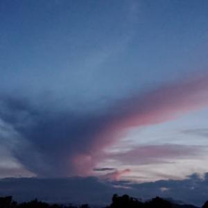 ピンクのVの雲