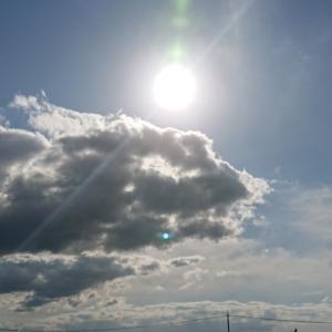 今日の夕日と雲の形