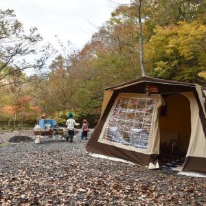 道志村で紅葉狩りキャンプ ②ビンテージテントに土砂降り 〜山伏オートキャンプ場〜