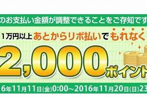 リボ払い手数料221円で楽天2,000ポイント獲得