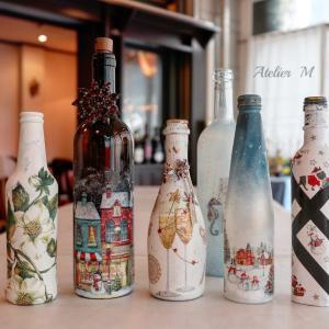 デコパージュとイタリアンランチの会「ワインボトル」