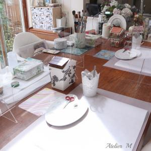 レッスンの様子とベーシックコースのガラス皿