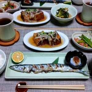 秋刀魚の塩焼きと豚汁
