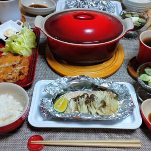 秋鮭のホイル焼きと湯豆腐