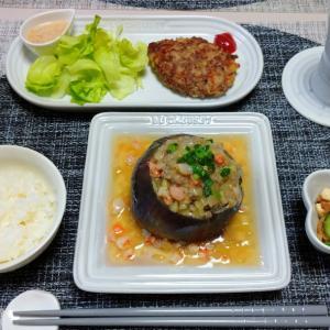 新潟県産 越の丸なすの肉詰め蒸し海老あんかけ