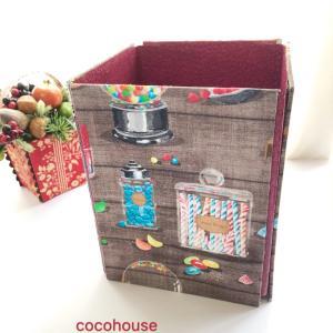 STOFで折りたたみダストボックス、キャンディ柄、仮置きマスクケースはトースト柄、今日のチョコ