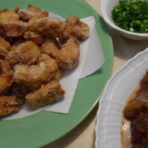 【食】ショウサイフグの漬け・サバフグの唐揚げ